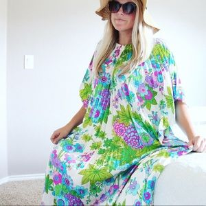 Vintage Alice of California 60s Pleated Maxi Dress